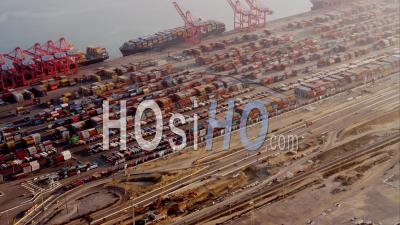 Aerial View Of Container Port And Shunting Yard