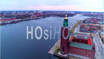 The Beautiful Stockholm City Hall Next To The Water, Sweden - Video Drone Footage
