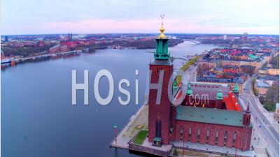 The Beautiful Building, Stockholm City Hall That Lays On The Side Of Riddarfjarden, Stockholm Sweden - Drone Point Of View