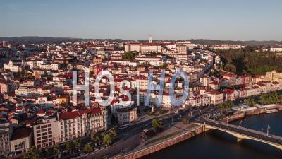 Establishing Aerial View Of Coimbra, Coimbra Skyline, Portugal - Video Drone Footage