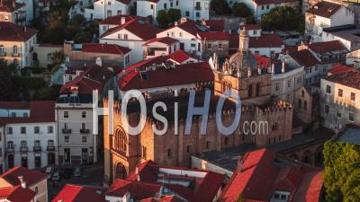 Aerial View Of Coimbra, Old Cathedral Of Coimbra, Portugal - Video Drone Footage