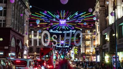 Christmas Lights And Decoration In Oxford Street In London