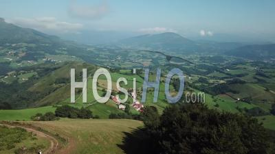 Aerial View Basque Country, Saint-Jacques De Compostela Road, Hikers, France - Video Drone Footage