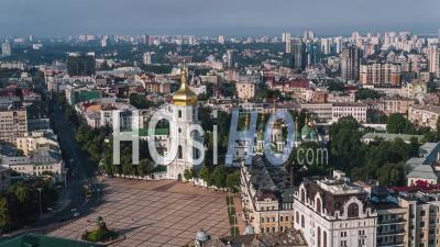 Aerial View Of Kiev (kyiv), St. Sophia's Cathedral, Kiev Skyline, Ukraine - Video Drone Footage
