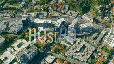 Aerial View Of Buildings Along Sunset Boulevard (sunset Strip) In West Hollywood