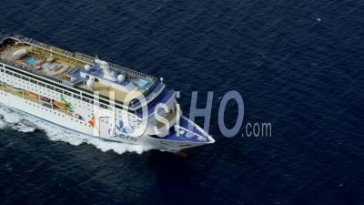 Aerial View Of Cruise Ship, Camera Approaches From Front (bow)