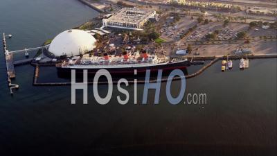 Aerial View Rms Queen Mary Docked At Long Beach