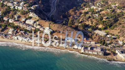 Aerial View Coastal Houses And Cars On California State Route 1 Highway