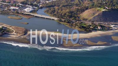 Aerial View Malibu Lagoon And California State Route 1 Highway