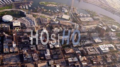 Aerial View Coastal City And Harbor