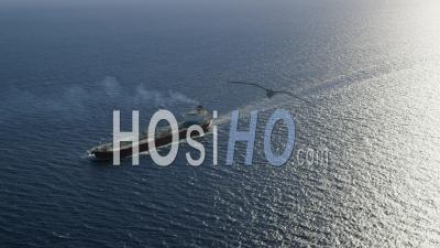 Aerial View Of Oil Products Tanker