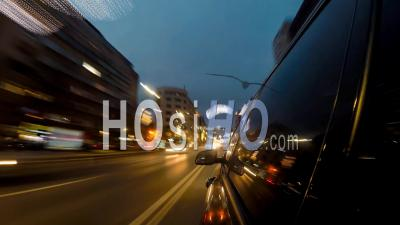 Hyper Lapse Driving A Black Car At Night