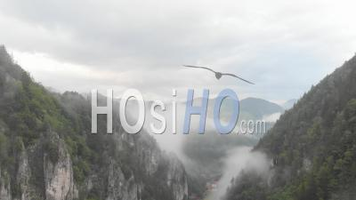 Fog After The Rain In The Gorges - Video Drone Footage