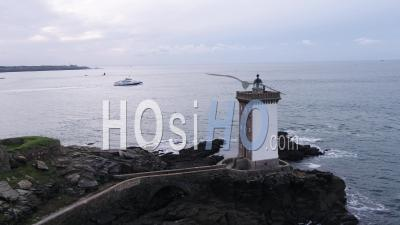 Aerial View Of Kermorvan Lighthouse, Near Brest, Brittany, France - Video Drone Footage
