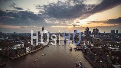 Establishing Aerial View Of London, Tower Bridge, City Skyline, United Kingdom - Video Drone Footage