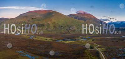 Aerial Panoramic View Of Beinn Spionnaidh And Cranstackie At Sunset In Scotland - Aerial Photography
