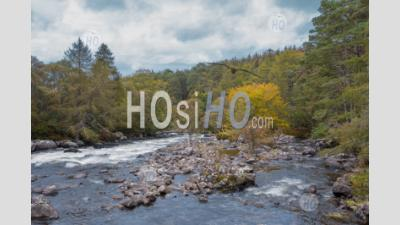 Drone Shoot Over River In Highlands At Autumn - Aerial Photography