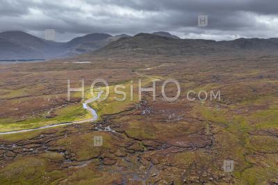 Aerial View Over Wetland In The Northwest Highlands Of Scotland - Aerial Photography