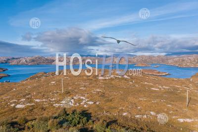 Aerial View Over Loch Laxford Islands In Scotland - Aerial Photography