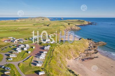 Aerial View Over Coastal Campsite In Scottish Highlands - Aerial Photography