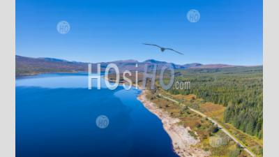Aerial View Over Loch Shin In Scottish Highlands - Aerial Photography