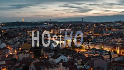 Aerial View Of Lisbon At Sunset, Lisboa, City Panorama, Portugal - Video Drone Footage