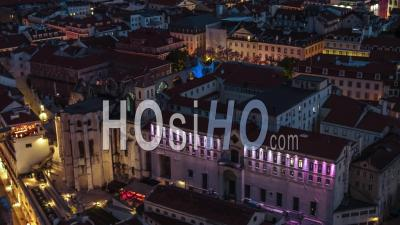 Aerial View Of Lisbon At Night, Lisboa, Old Town, Portugal - Video Drone Footage