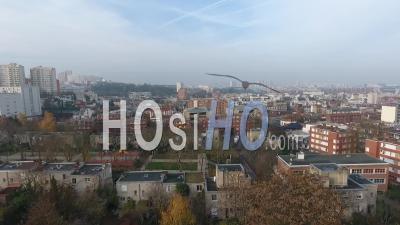 Buildings And City Park At Le Pre Saint Gervais Suburb Of Paris, Video Drone Footage