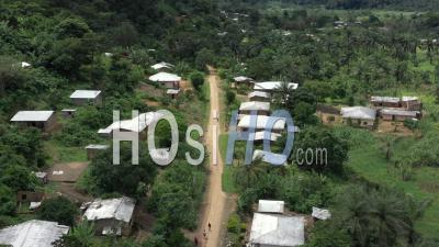Flight Over An African Village In The Rain Forest - Video Drone Footage