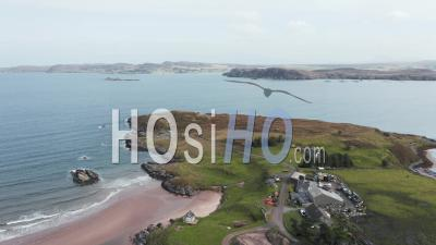 Aerial View Over Coast Of Northwest Highlands In Scotland - Video Drone Footage