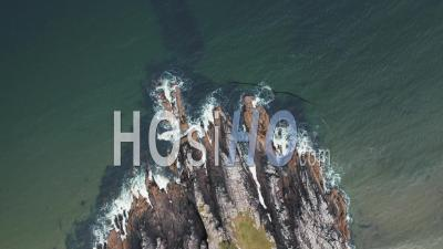 Top Down View Over Scenic Cliffs In Scotland - Video Drone Footage