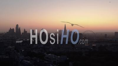 City Of London Skyline And London Eye At Sunrise - Drone Point Of View
