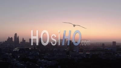 City Of London Skyline And London Eye At Sunrise - Video Drone Footage