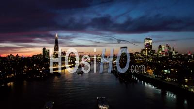 City Of London Skyline And Tower Bridge At Dusk - Video Drone Footage