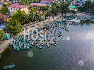 Aerial Panoramic View Port Of Rowing Boats At Hoa Lu , Tam Coc , Vietnam - Aerial Photography