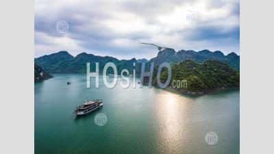 Panoramic View Of Lan Ha Bay With Cruise Ship And Mountain , Vietnam - Aerial Photography