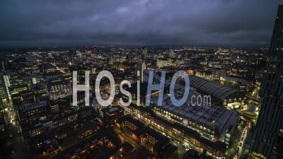 Establishing Aerial View Shot Of Manchester England United Kingdom Night - Video Drone Footage