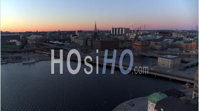 Nightfall Over Central Stockholm, Sweden - Video Drone Footage