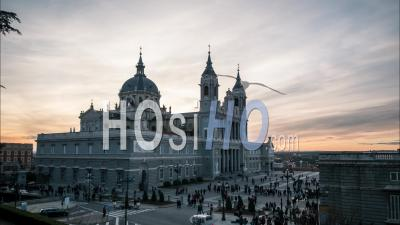 Day To Night Madrid Capital Of Spain Timelapse Beautiful Sunset Neoclassical Roman Catholic Cathedral Of Saint Mary The Royal Of La Almudena