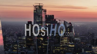 Aerial View Shot Of City Of London Beautiful Light Cover Modern Buildings Morning Mood United Kingdom - Video Drone Footage