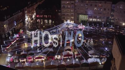 Marché De Noël De Lille, Vue Par Drone De Nuit