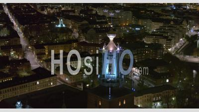 Stockholm City Hall Winter Night, Sweden - Video Drone Footage