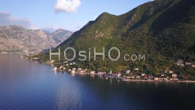 Montenegro Bay Of Kotor Drone Point Of View Before Sunset.