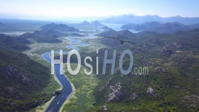 Montenegro Skadar Lake River. Aerial Footage - Video Drone Footage