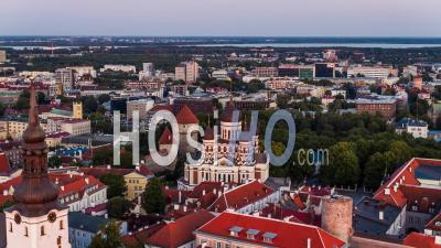Tallinn Establishing Aerial View Shot Alexander Nevsky Cathedral Estonia - Drone Point Of View