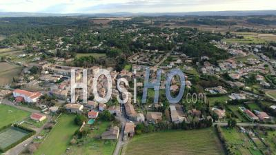 Malves-En-Minervois, Village Among Vineyard And Pine Forest, Seen By Drone