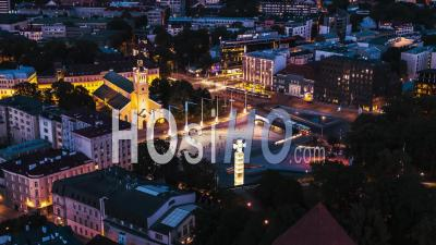 Aerial View Shot Of Tallinn Freedom Square Estonia Night Evening Sunset - Drone Point Of View