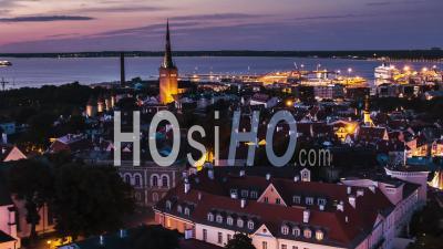 Tallinn Establishing Aerial Shot View Of Tallinn Skyline Estonia Night Evening Sunset - Video Drone Footage