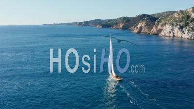 Sailing Boat Along The Calanques Of Marseille, Estaque Coast - Drone Point Of View