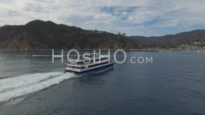 The Catalina Flyer And Passengers Arriving At Catalina Island - Drone Point Of View
